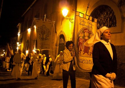 Many religious and social organizations marched in the tribute to St. Mary in Tuscania, Italy on Sept. 15, 2013.