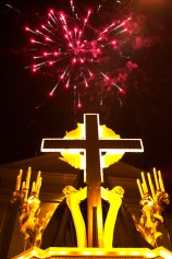 Fireworks above the Church of San Giovanni Decollato signify the end of the Processione di Santa Maria. Tuscania, Italy. (2013)