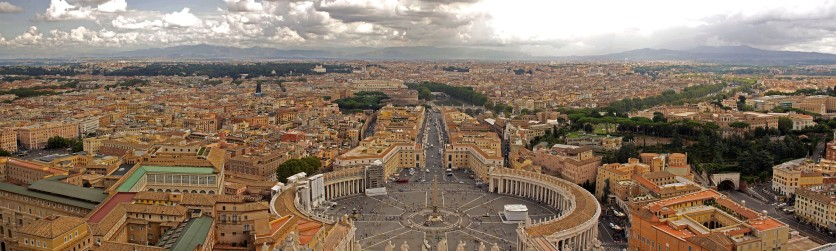 A view from the top of the cupola at St. Peter's Basilica, Vatican City, Italy. (2013)