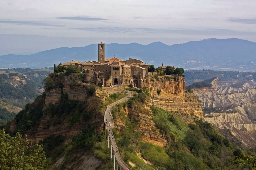 This is Civita di Bangnoregio in the Viterbo region of Lazio in central Italy. It is an Etruscan community dating back to 500 B.C.!