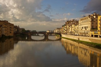 The Arno River from Ponte Vecchio bridge, which was built in 1345. Florence, Italy. (2013)