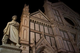 A statue of Dante Alighieri outside the Basilica of Santa Croce. Florence, Italy (2013)