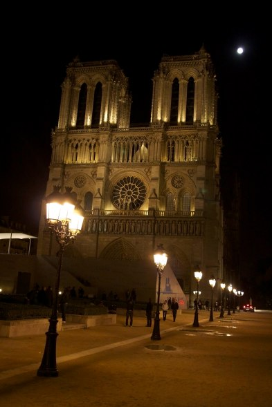 The Notre Dame Cathedral under a full moon in Paris, France. (2013)