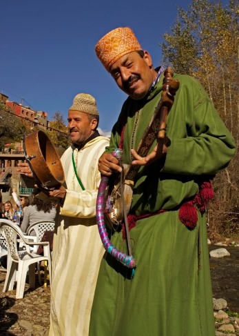 Local musicians perform in the Ourika Valley. Marrakech, Morocco. (2013)