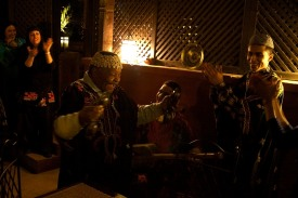 Musicians play Gwana songs, an ancient African Islamic style of music. Marrakech, Morocco. (2013)