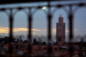 The minaret of the Koutoubia Mousque towers over Marrakech, Morocco. (2013)