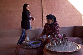 A Berber family prepares mint tea for a visiting group of American students at their home. Ourika Valley, Marrakech, Morocco. (2013)