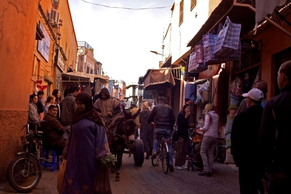 A street scene inside the walls of the medina. Marrakech, Morocco. (2013)