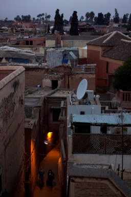 A view of the the densely situated streets inside the medina of Marrakech, Morocco. (2013)