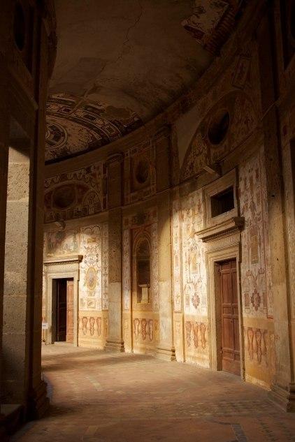 Exterior hallway that circumnavigates the central courtyard of Villa Farnese. Caprarola, Italy. (2013)