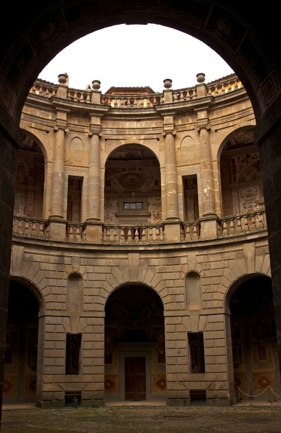 The central courtyard of Villa Farnese. Its pentagon shape was revolutionary for its time and inspired others to replicate the design. Caprarola, Italy. (2013)