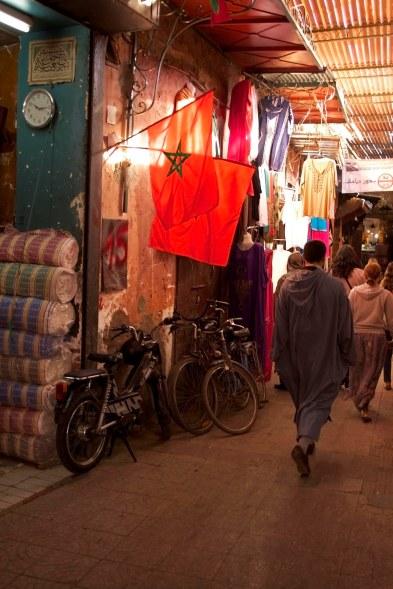 The market inside the medina of Marrakech, Morocco. (2013)