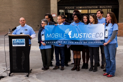 Rep. Joe Salazar speaks at the ACLU of Colorado press conference in front of Denver PD headquarters on Oct. 29, 2015. The ACLU of Colorado unveiled its mobile justice app which securely sends video to its database in real time from its users.